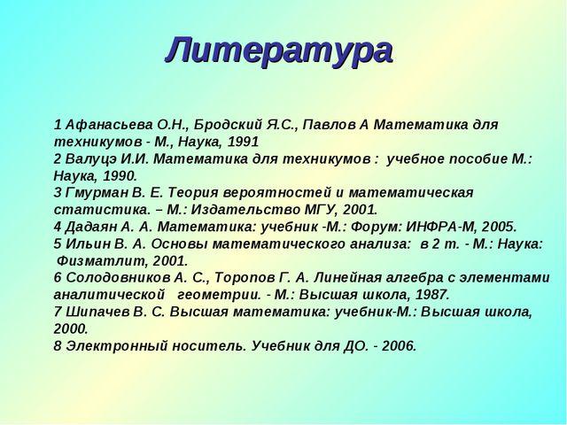 Литература 1 Афанасьева О.Н., Бродский Я.С., Павлов А Математика для техникум...