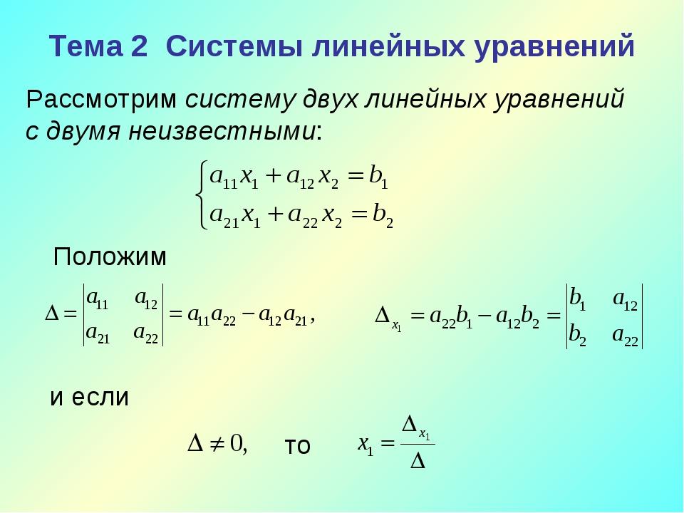 Тема 2 Системы линейных уравнений Рассмотрим систему двух линейных уравнений...