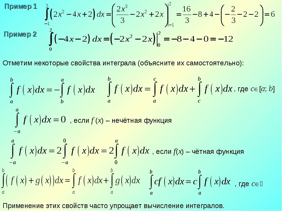 Отметим некоторые свойства интеграла (объясните их самостоятельно): Применени...
