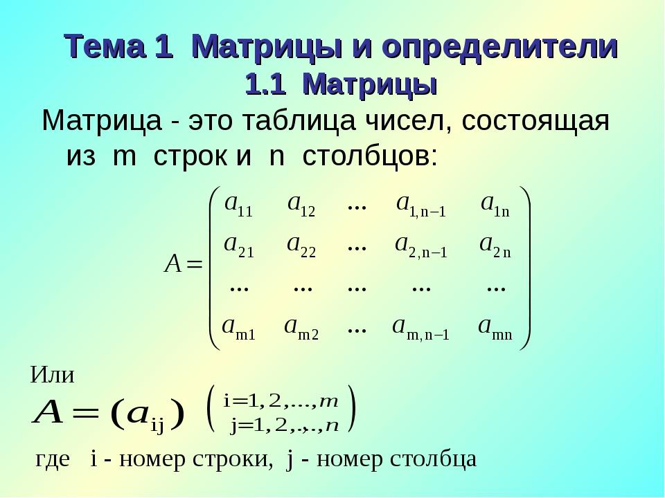 Тема 1 Матрицы и определители 1.1 Матрицы Матрица - это таблица чисел, состоя...