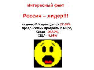 на долю РФ приходится 27,89% вредоносных программ в мире, Китая - 26,52%, США