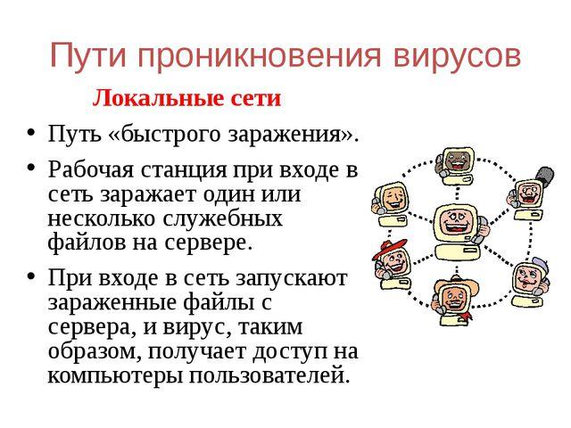 Пути проникновения вирусов Локальные сети Путь «быстрого заражения». Рабочая...