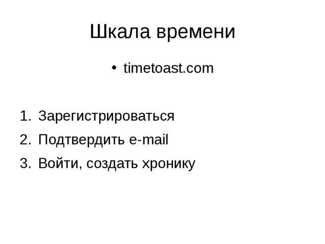 Шкала времени timetoast.com Зарегистрироваться Подтвердить e-mail Войти, созд...