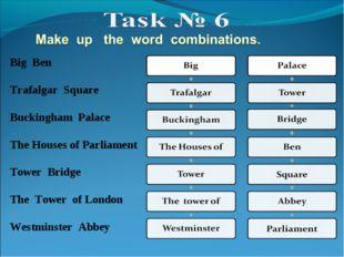 Big Ben Trafalgar Square Buckingham Palace The Houses of Parliament Tower Bri