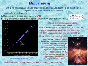 Масса звезд Одна из важнейших характеристик звезд, указывающая на ее эволюцию