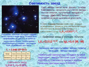 Светимость звезд В 1856г Норман Погсон (1829-1891, Англия) устанавливает фор