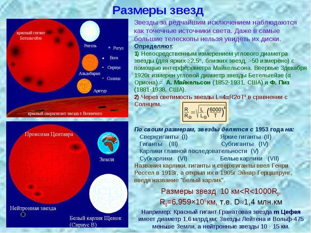 Размеры звезд Определяют: 1) Непосредственным измерением углового диаметра зв...