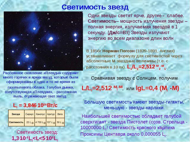Светимость звезд В 1856г Норман Погсон (1829-1891, Англия) устанавливает фор...