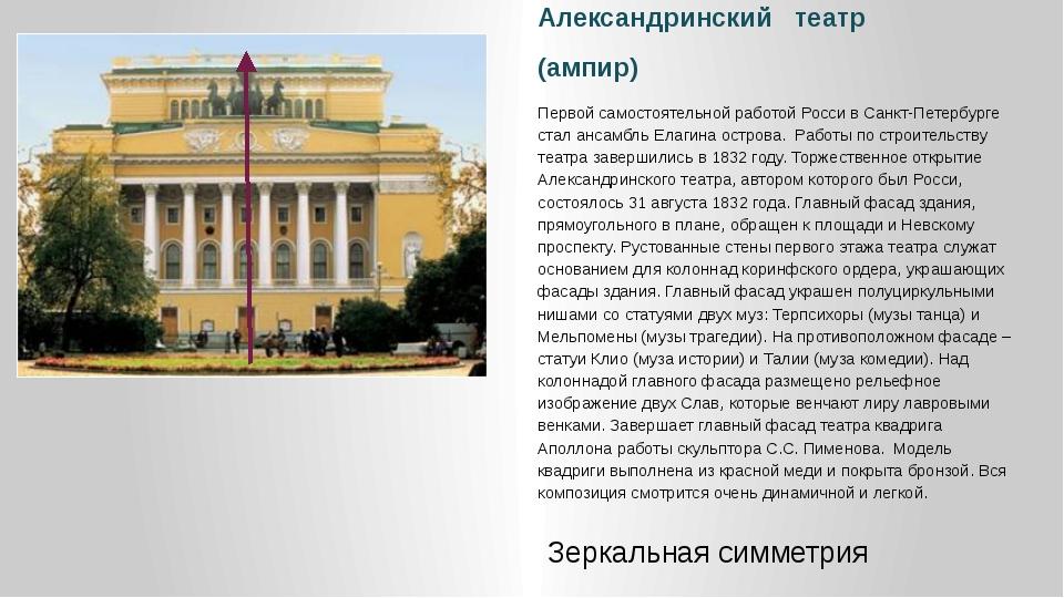 Александринский театр (ампир) Первой самостоятельной работой Росси в Санкт-Пе...