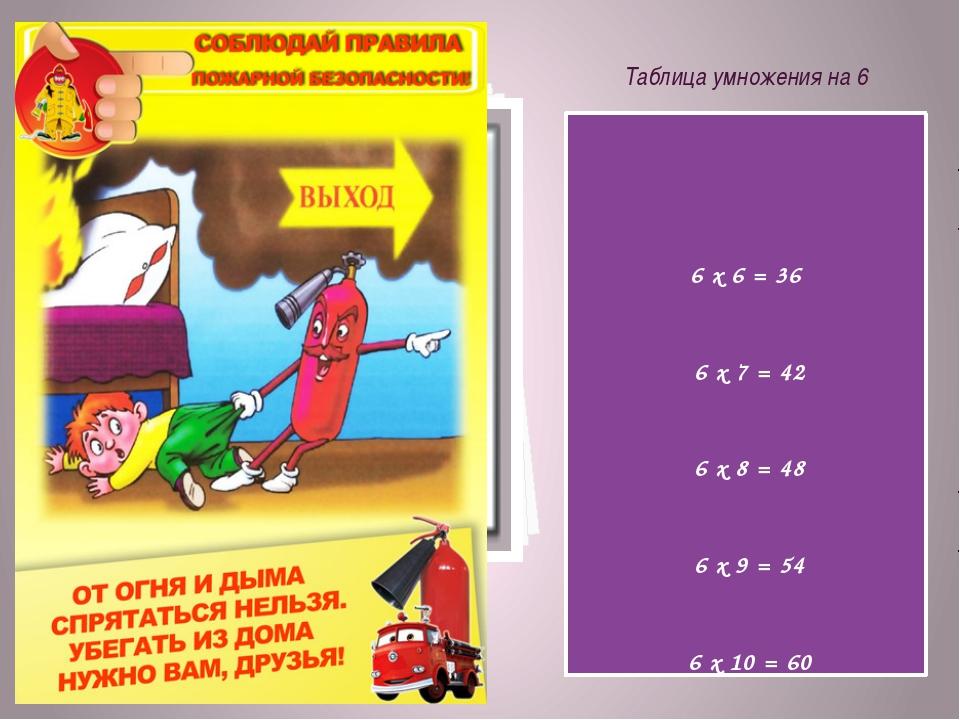 Таблица умножения на 6 6 х 6 = 36 6 х 7 = 42 6 х 8 = 48 6 х 9 = 54 6 х 10 = 60