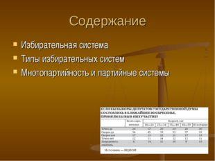 Содержание Избирательная система Типы избирательных систем Многопартийность и