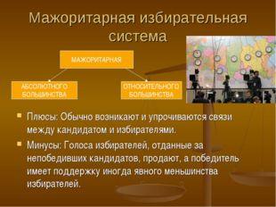 Мажоритарная избирательная система Плюсы: Обычно возникают и упрочиваются свя