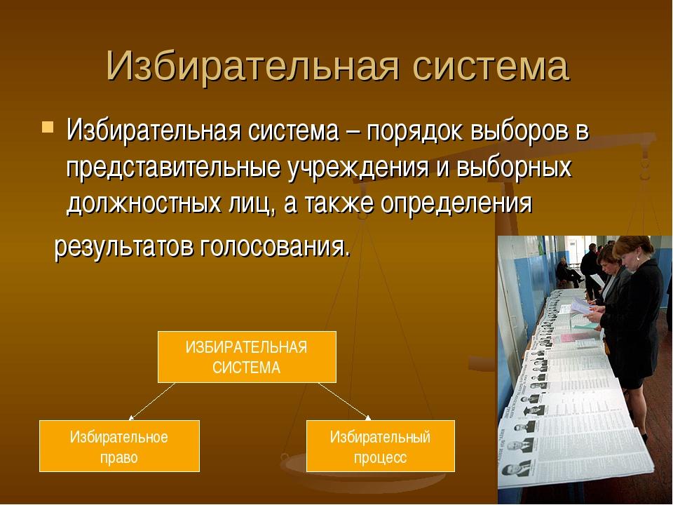 Избирательная система Избирательная система – порядок выборов в представитель...