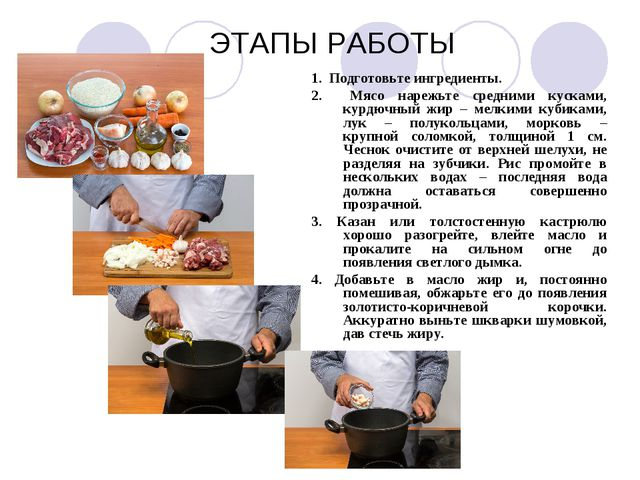 ЭТАПЫ РАБОТЫ 1. Подготовьте ингредиенты. 2. Мясо нарежьте средними кусками,...