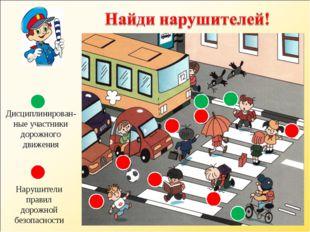 Нарушители правил дорожной безопасности Дисциплинирован-ные участники дорожно