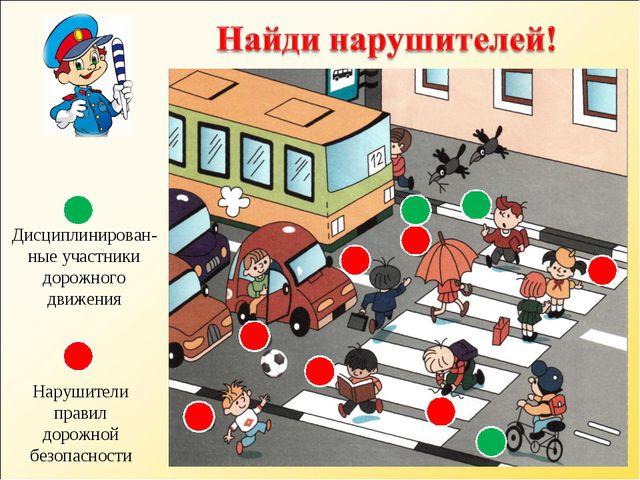 Нарушители правил дорожной безопасности Дисциплинирован-ные участники дорожно...