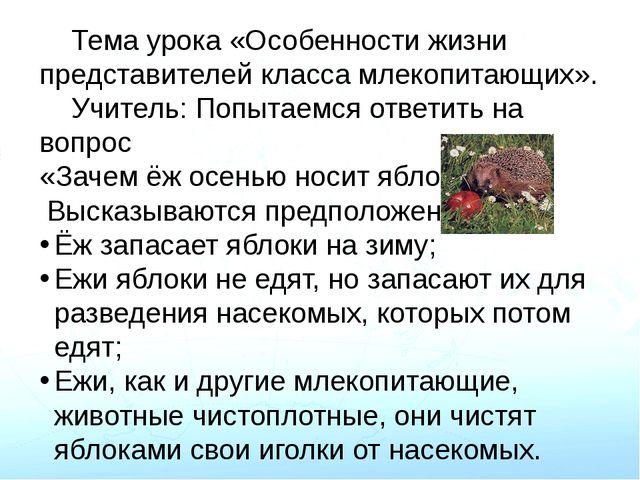 Тема урока «Особенности жизни представителей класса млекопитающих». Учитель...