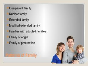 Patterns of Family One-parent family Nuclear family Extended family Modified