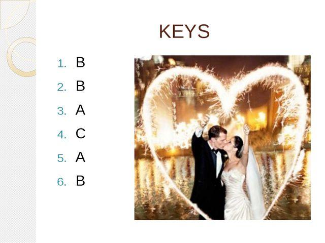 KEYS B B A C A B