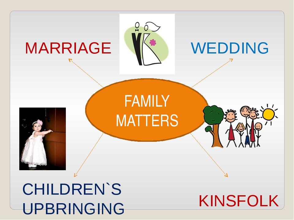 FAMILY MATTERS MARRIAGE WEDDING CHILDREN`S UPBRINGING KINSFOLK