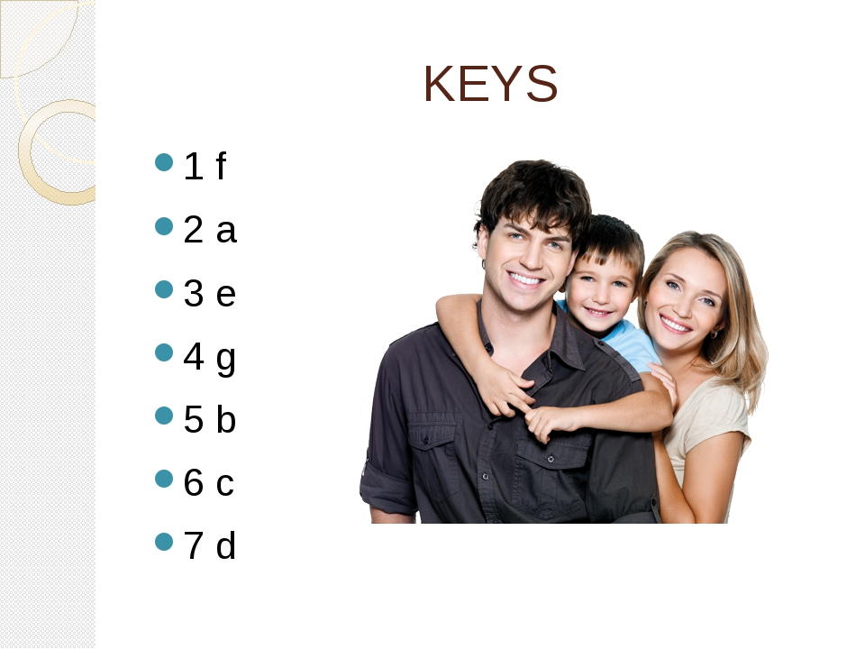 KEYS 1 f 2 a 3 e 4 g 5 b 6 c 7 d