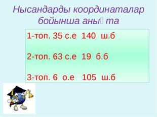 Нысандарды координаталар бойынша анықта 1-топ. 35̊с.е 140̊ ш.б 2-топ. 63̊с.е