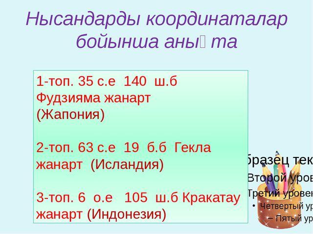 Нысандарды координаталар бойынша анықта 1-топ. 35̊с.е 140̊ ш.б Фудзияма жанар...