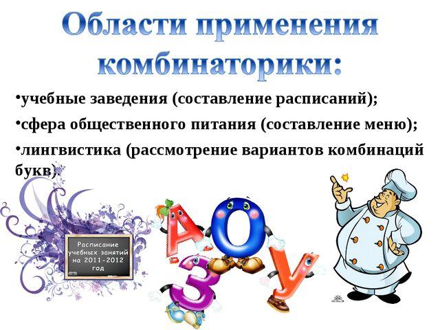 лингвистика (рассмотрение вариантов комбинаций букв). учебные заведения (сост...
