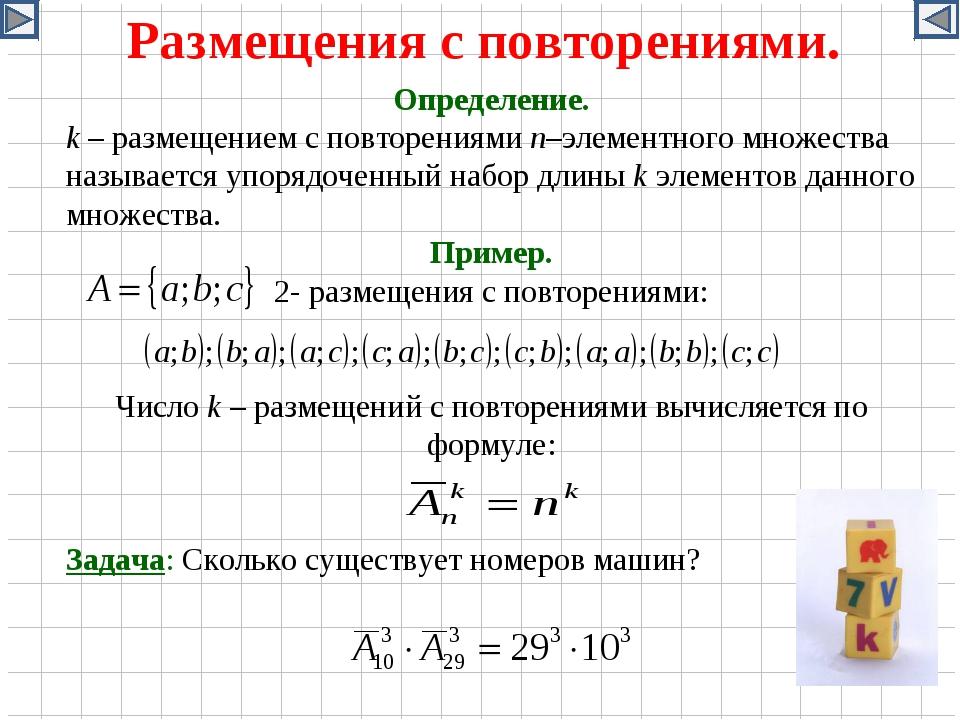 Размещения с повторениями. Определение. k – размещением с повторениями n–элем...