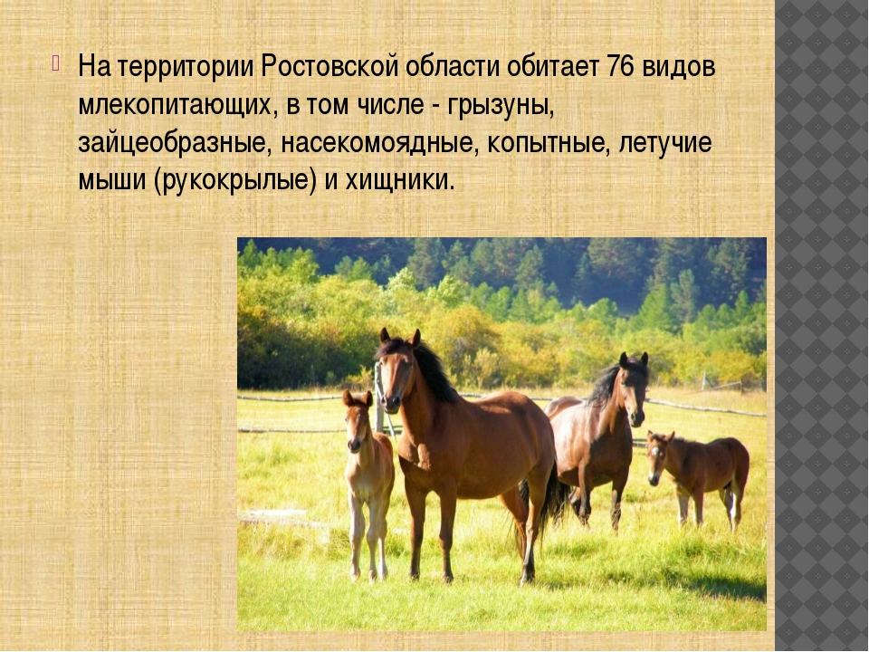 На территории Ростовской области обитает 76 видов млекопитающих, в том числе...