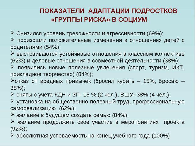 Снизился уровень тревожности и агрессивности (69%); произошли положительные...
