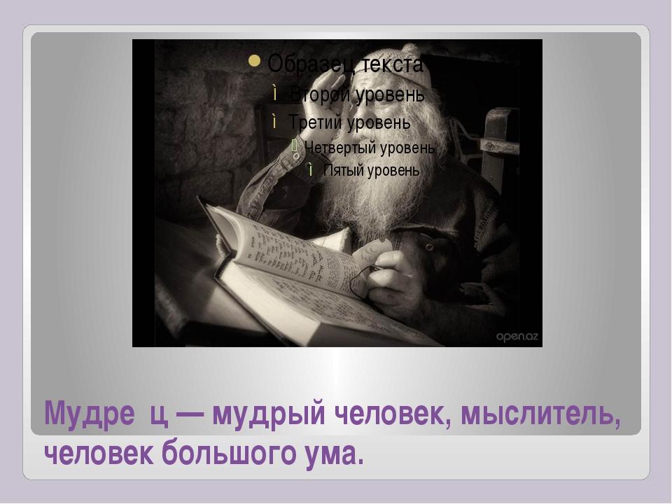 Мудре́ц — мудрый человек, мыслитель, человек большого ума.