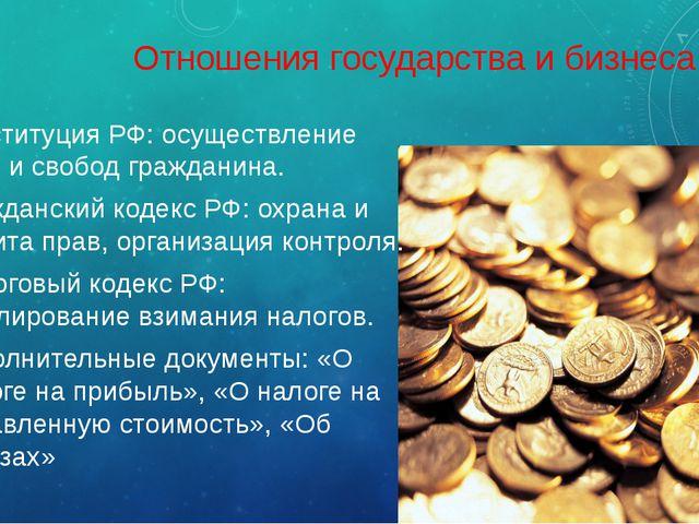 Отношения государства и бизнеса Конституция РФ: осуществление прав и свобод г...