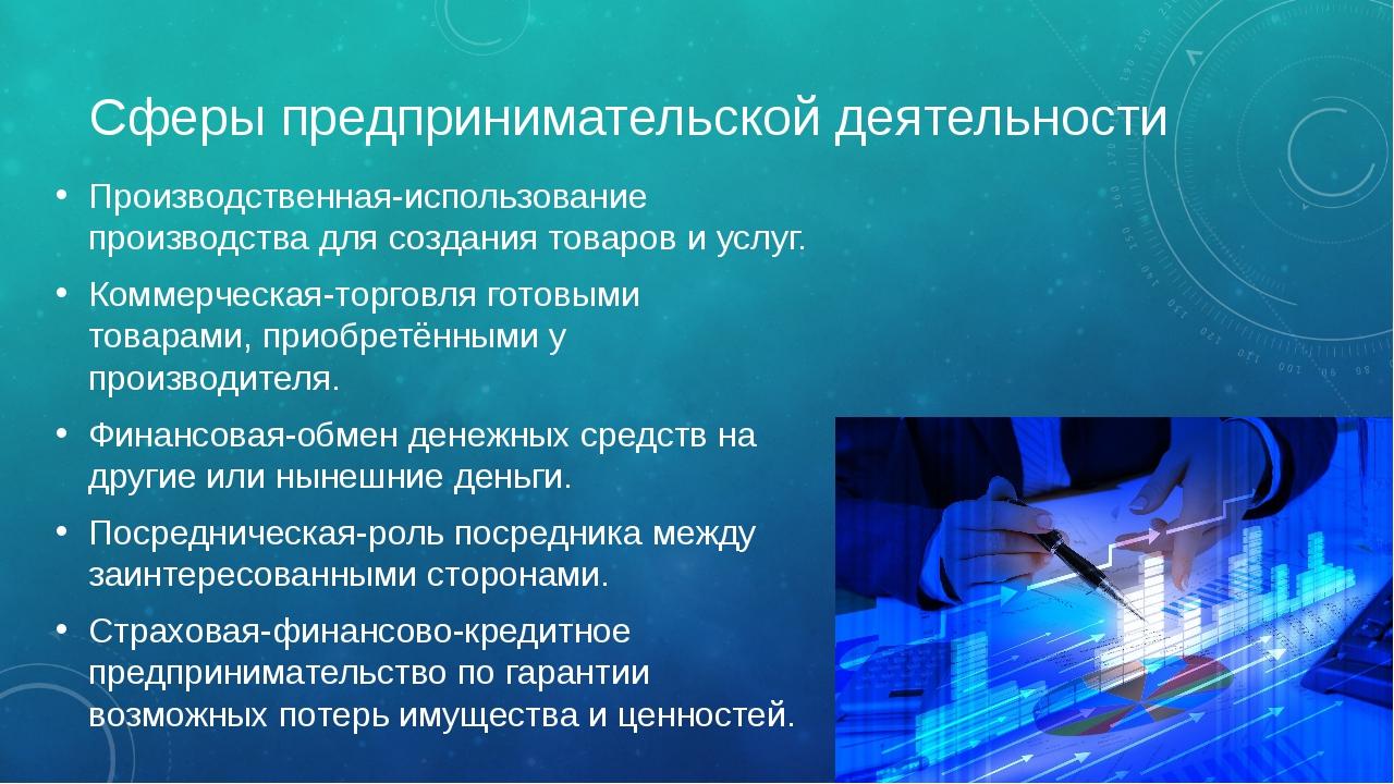 Сферы предпринимательской деятельности Производственная-использование произв...
