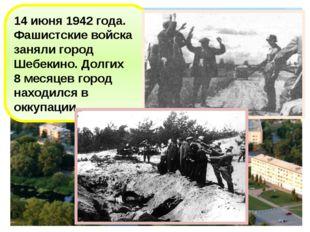 14 июня 1942 года. Фашистские войска заняли город Шебекино. Долгих 8 месяцев