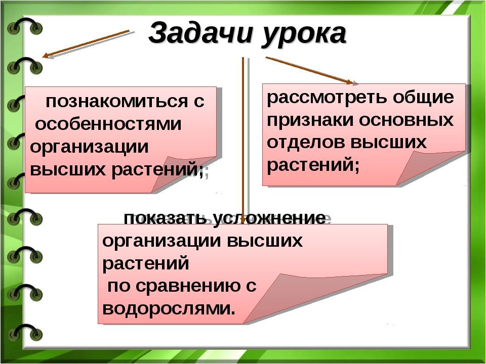 Задачи урока познакомиться с особенностями организации высших растений; расс...