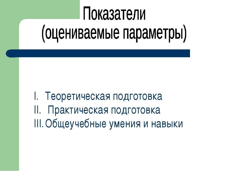 Теоретическая подготовка Практическая подготовка Общеучебные умения и навыки