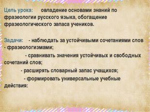 Цель урока: овладение основами знаний по фразеологии русского языка, обогаще
