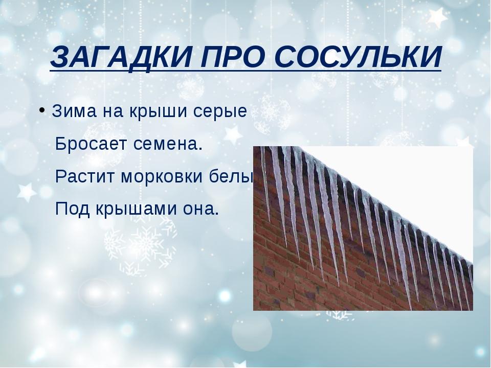 ЗАГАДКИ ПРО СОСУЛЬКИ Зима на крыши серые Бросает семена. Растит морковки белы...