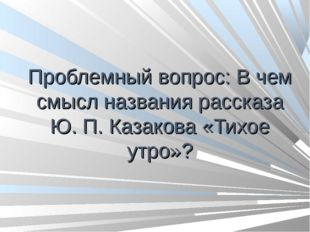 Проблемный вопрос: В чем смысл названия рассказа Ю. П. Казакова «Тихое утро»?