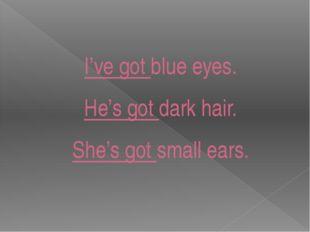 I've got blue eyes. He's got dark hair. She's got small ears.