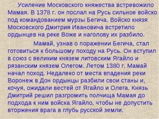 Усиление Московского княжества встревожило Мамая. В 1378 г. он послал на Ру