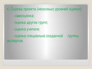4. Оценка проекта (несколько уровней оценки):  - самооценка;  - оце