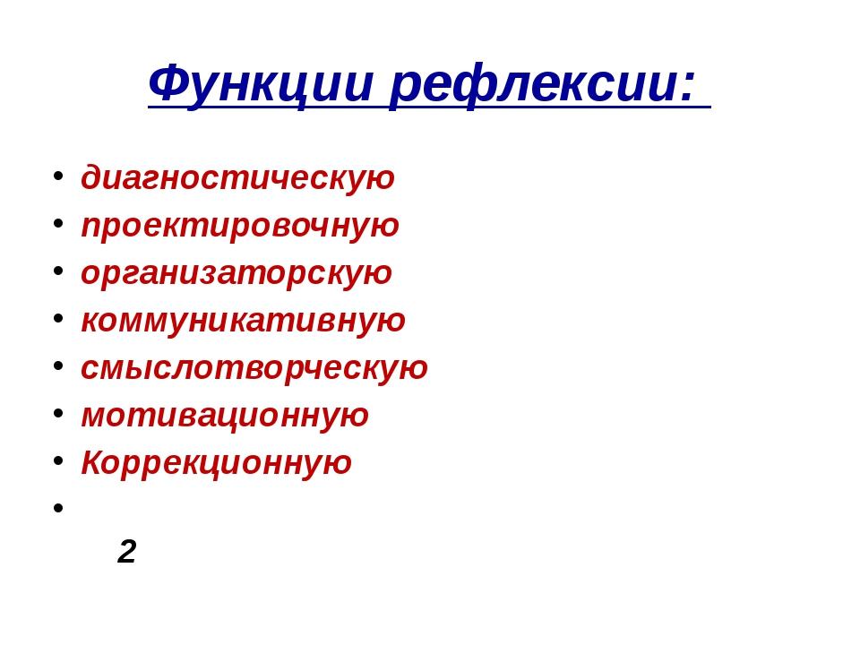 Функции рефлексии: диагностическую проектировочную организаторскую...
