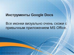 Инструменты Google Docs Все иконки визуально очень схожи с привычным приложен