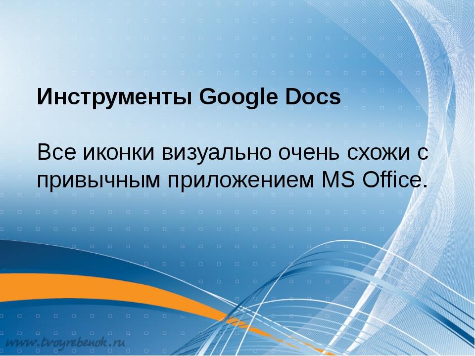 Инструменты Google Docs Все иконки визуально очень схожи с привычным приложен...