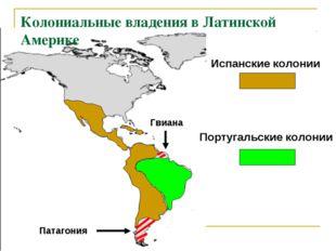 Колониальные владения в Латинской Америке Испанские колонии Португальские кол