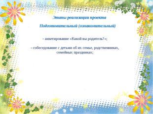 Этапы реализации проекта Подготовительный (ознакомительный) - анкетирование «