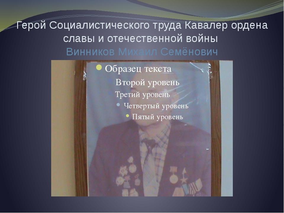 Герой Социалистического труда Кавалер ордена славы и отечественной войны Винн...