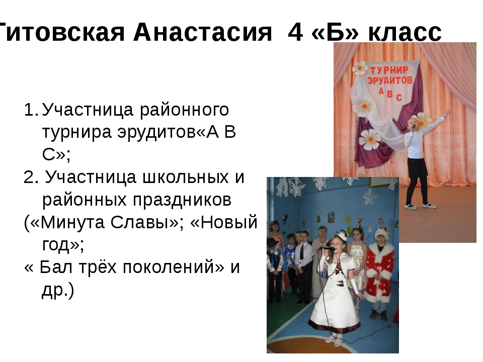 Титовская Анастасия 4 «Б» класс Участница районного турнира эрудитов«А В С»;...